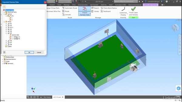Importing wire data from AutoCAD Electrical: Autodesk Inventor Routed Systems: Harness