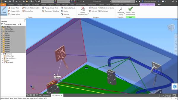 Add harness segments: Autodesk Inventor Routed Systems: Harness