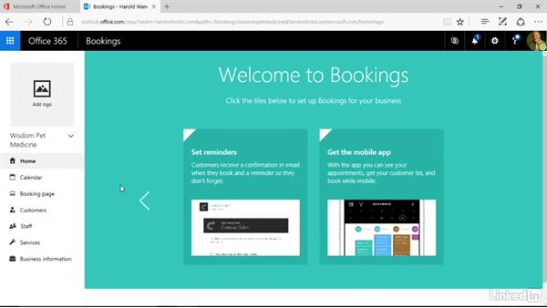 Get Bookings and tour the UI: Microsoft Bookings Essential Training