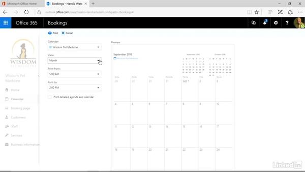 Print a detailed agenda: Microsoft Bookings Essential Training