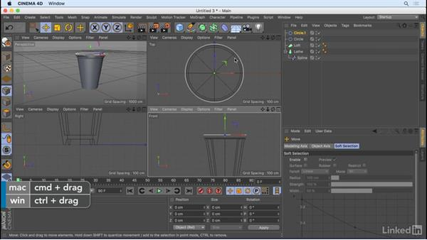 Create geometry with splines: CINEMA 4D R18 Essential Training: Motion Graphics