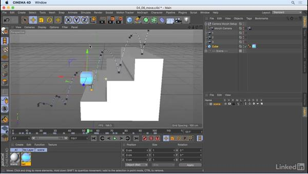Move animated objects: CINEMA 4D R18 Essential Training: Motion Graphics