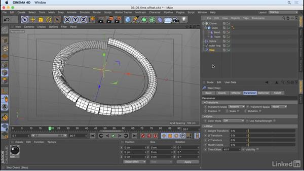 Offset animation with the Step effector: CINEMA 4D R18 Essential Training: Motion Graphics