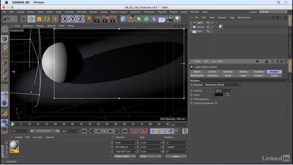 Use different types of shadow: CINEMA 4D R18 Essential Training: Motion Graphics