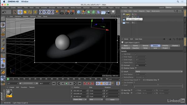 Add falloff for realistic lighting: CINEMA 4D R18 Essential Training: Motion Graphics