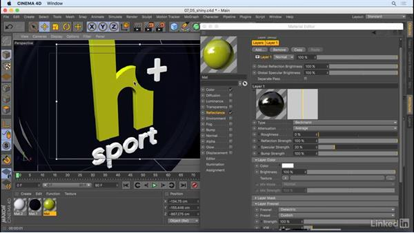 Make things shiny and reflective: CINEMA 4D R18 Essential Training: Motion Graphics