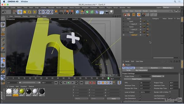 Create previews and final renders: CINEMA 4D R18 Essential Training: Motion Graphics