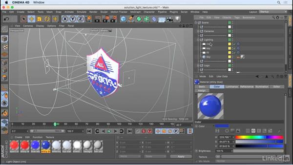 Solution: Lighting and texturing: CINEMA 4D R18 Essential Training: Motion Graphics