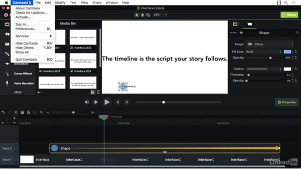 Understanding the interface: Camtasia 3 for Mac Essential Training