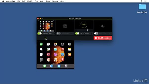 Recording mobile devices: Camtasia 3 for Mac Essential Training