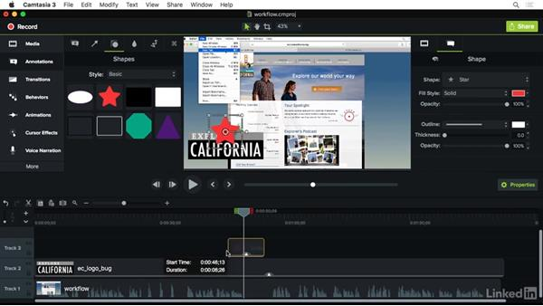Understanding the editing workflow: Camtasia 3 for Mac Essential Training