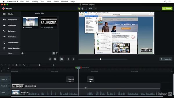 Timeline overview: Camtasia 3 for Mac Essential Training