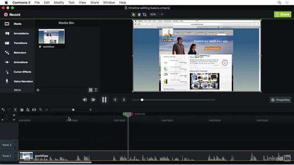 Basic timeline editing: Camtasia 3 for Mac Essential Training