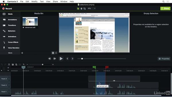 Working with selections: Camtasia 3 for Mac Essential Training