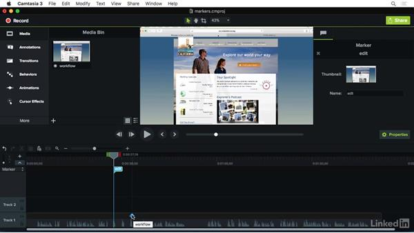 Using markers: Camtasia 3 for Mac Essential Training