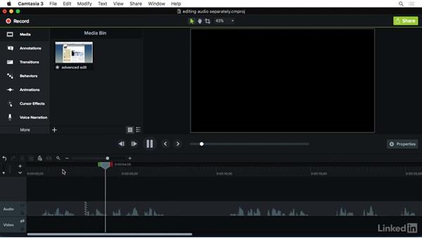 Separating a clips audio and video to perform an audio edit: Camtasia 3 for Mac Essential Training