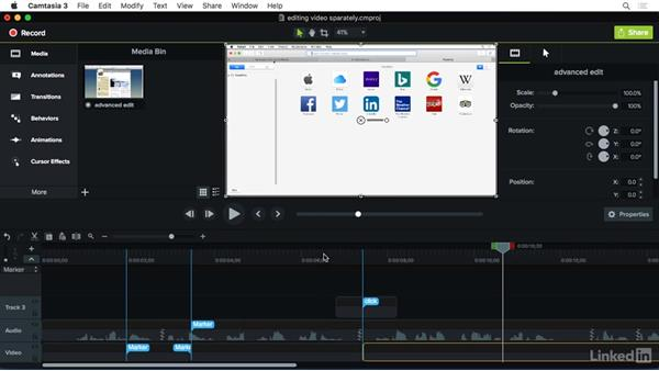 Editing video to an audio track: Camtasia 3 for Mac Essential Training