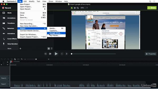 Importing media from Google Drive: Camtasia 3 for Mac Essential Training