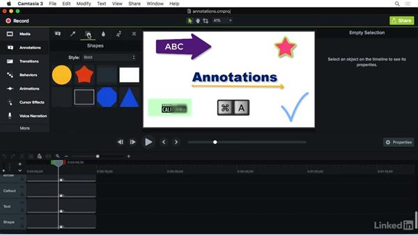 Understanding annotations: Camtasia 3 for Mac Essential Training
