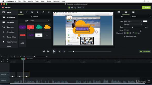 Choosing the right annotation: Camtasia 3 for Mac Essential Training