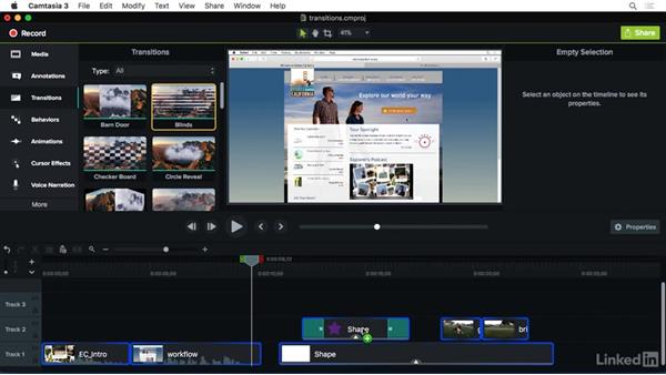 Adding transitions: Camtasia 3 for Mac Essential Training