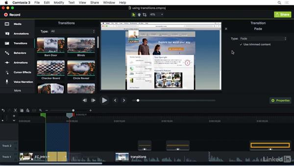 Using transitions to tell your story: Camtasia 3 for Mac Essential Training