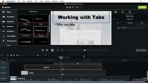 Using behaviors to help tell your story.: Camtasia 3 for Mac Essential Training