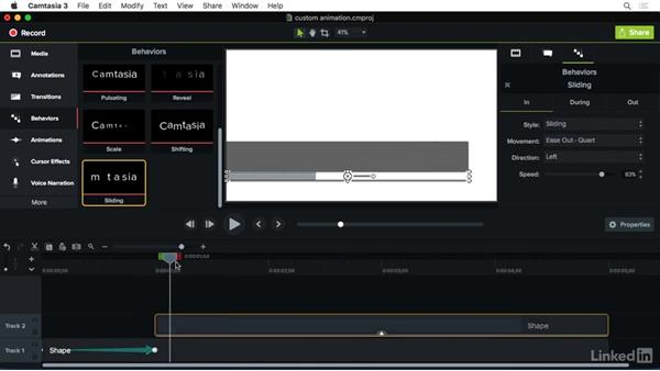 Combining animations and behaviors: Camtasia 3 for Mac Essential Training