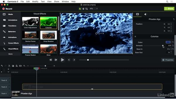 Using the Colorize effect: Camtasia 3 for Mac Essential Training