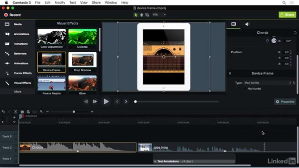 Using the Device Frame effect: Camtasia 3 for Mac Essential Training