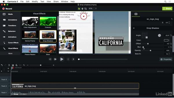 Using the Drop Shadow effect: Camtasia 3 for Mac Essential Training