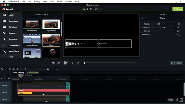 Using the Glow effect: Camtasia 3 for Mac Essential Training