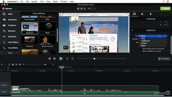 Using the Key Stroke effect: Camtasia 3 for Mac Essential Training