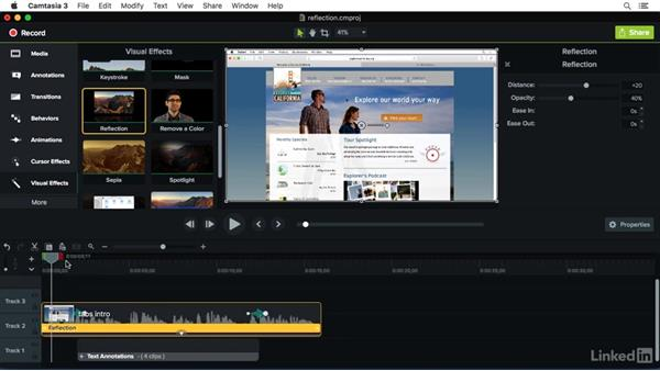 Using the Reflection effect: Camtasia 3 for Mac Essential Training