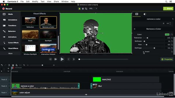 Using the Remove a Color effect: Camtasia 3 for Mac Essential Training