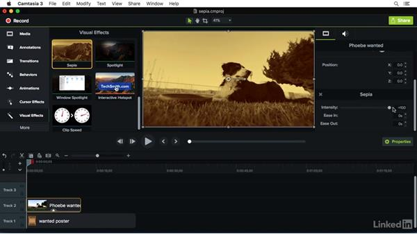 Using the Sepia effect: Camtasia 3 for Mac Essential Training