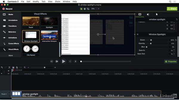 Using the Window Spotlight effect: Camtasia 3 for Mac Essential Training