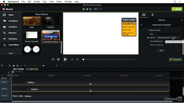 Using the Interactive Hotspot effect: Camtasia 3 for Mac Essential Training