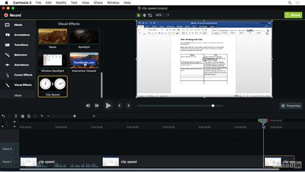Using the Clip Speed effect: Camtasia 3 for Mac Essential Training