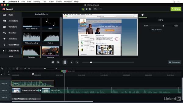Mixing audio: Camtasia 3 for Mac Essential Training