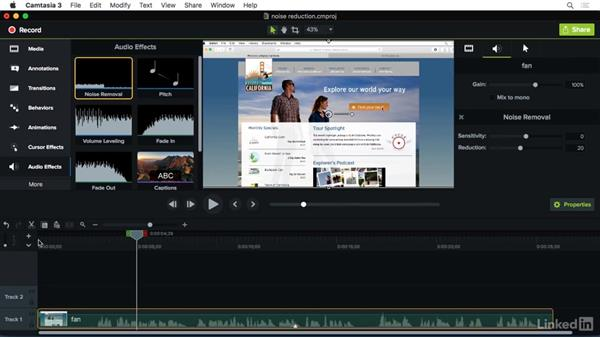 Using Noise Removal: Camtasia 3 for Mac Essential Training