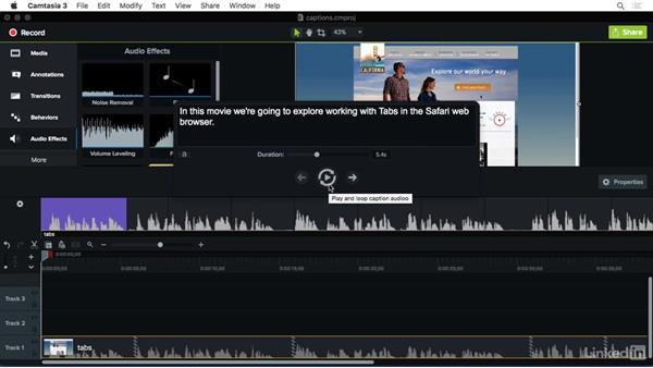 Manually adding captions: Camtasia 3 for Mac Essential Training