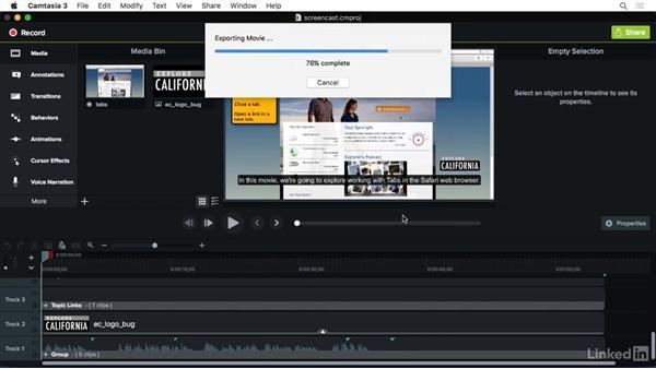 Sharing to Screencast.com: Camtasia 3 for Mac Essential Training