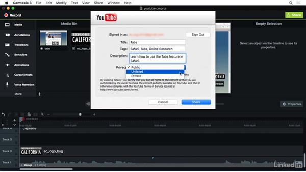 Sharing to YouTube: Camtasia 3 for Mac Essential Training