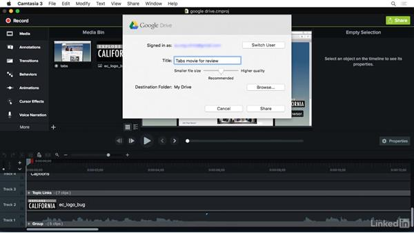 Sharing to Google Drive: Camtasia 3 for Mac Essential Training