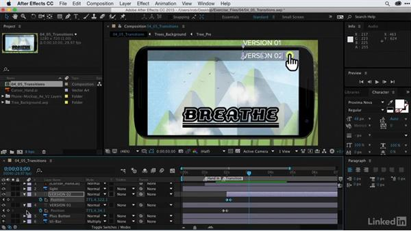 Adding transitions between graphic builds: After Effects Guru: CC Market and Libraries
