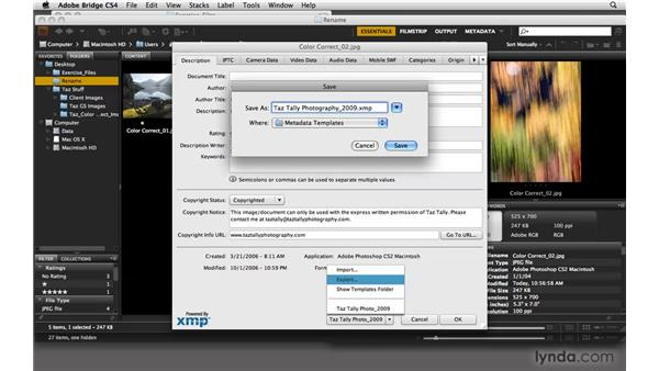 Adding copyrights and other metadata : Photoshop CS4: Color Correction