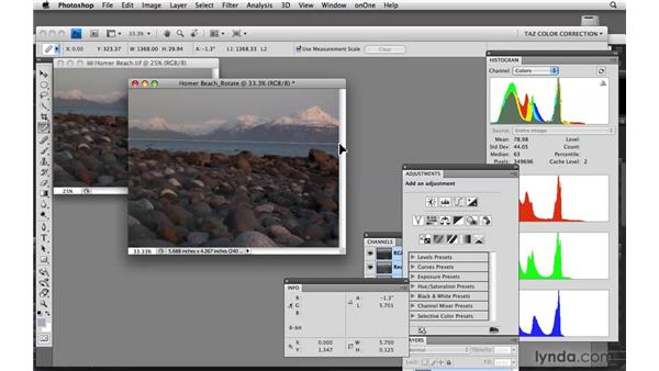 Straightening your image: Photoshop CS4: Color Correction
