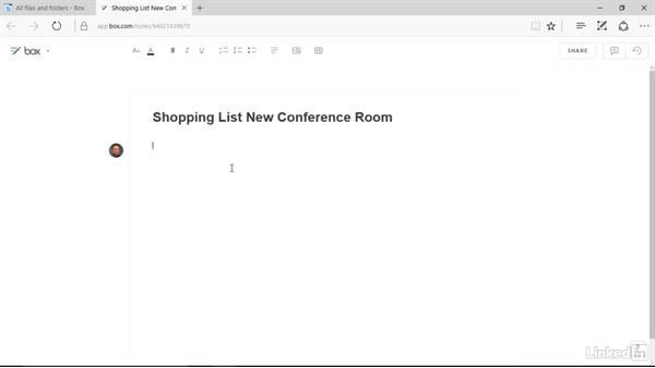 Create a Box note: Box.com Essential Training