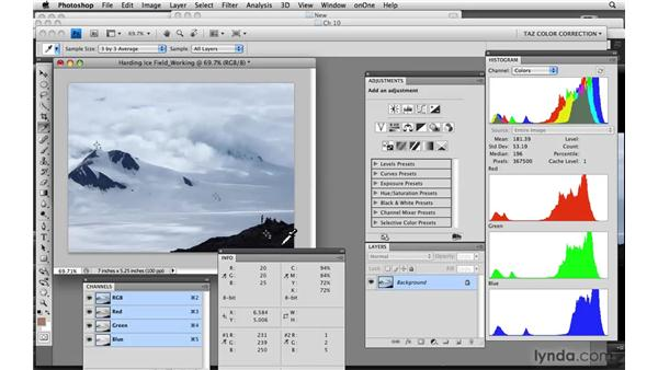 Clouds, snow, ice, and land: Photoshop CS4: Color Correction